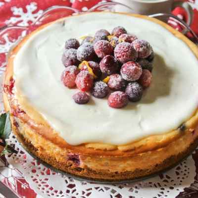 Festive Cranberry Lemon Cheesecake