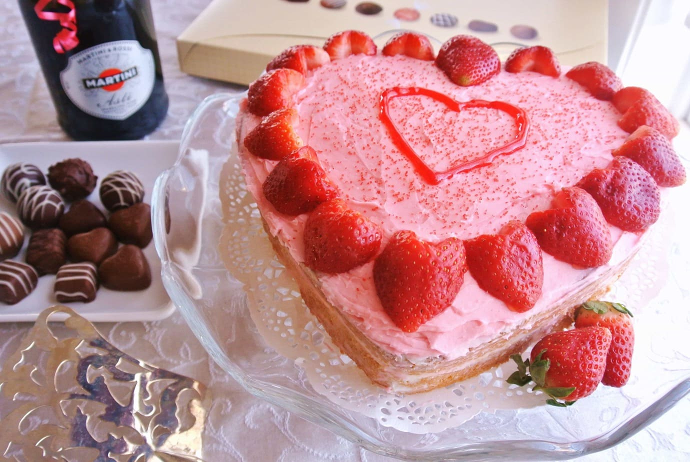 Almond Sour Cream Pound Cake With Heart Shaped Strawberries No