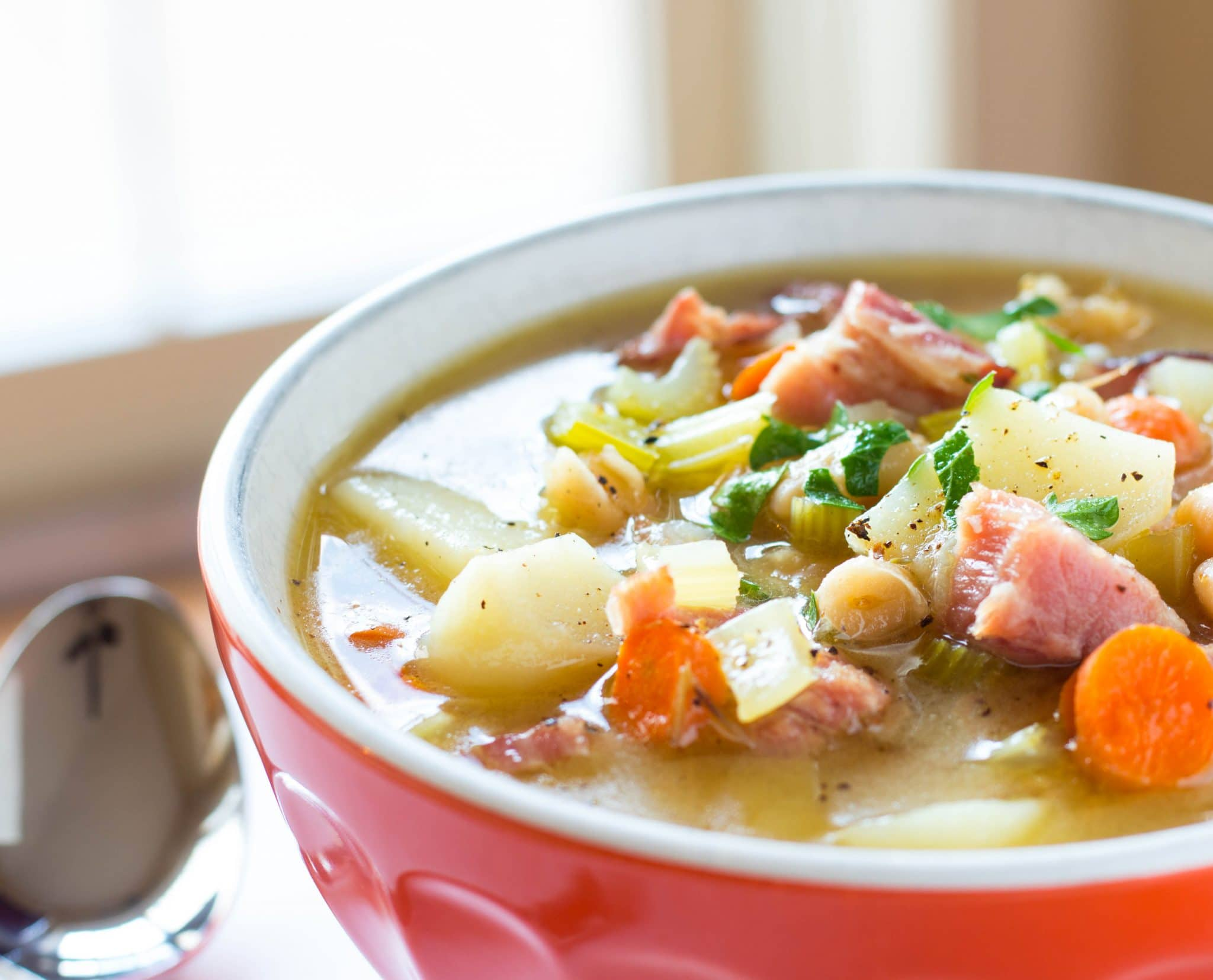 Ham Potato and Bean Soup with Potatoes