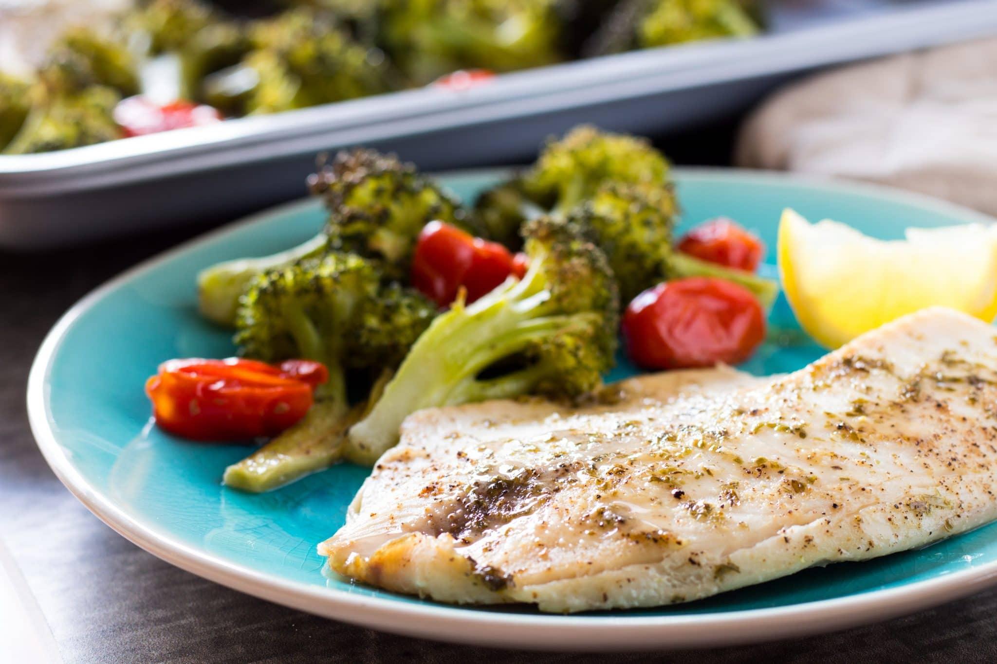 Roasted Tilapia and Broccoli Sheet Pan Dinner
