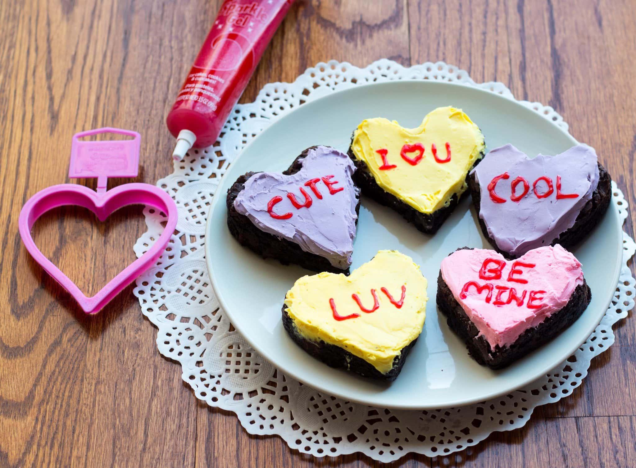 Conversation Heart Chocolate Brownies