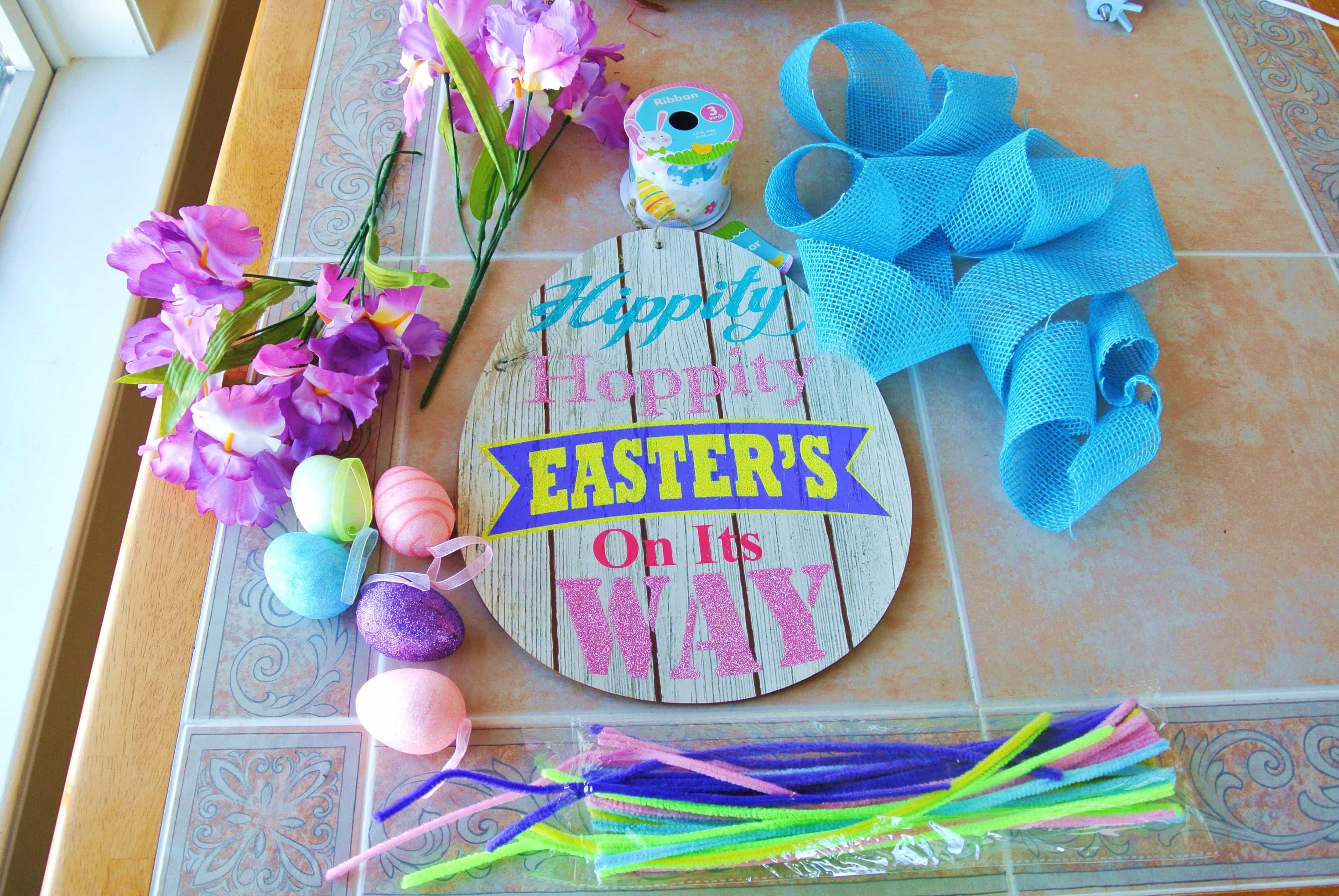 DIY Dollar Store Easter Wreath