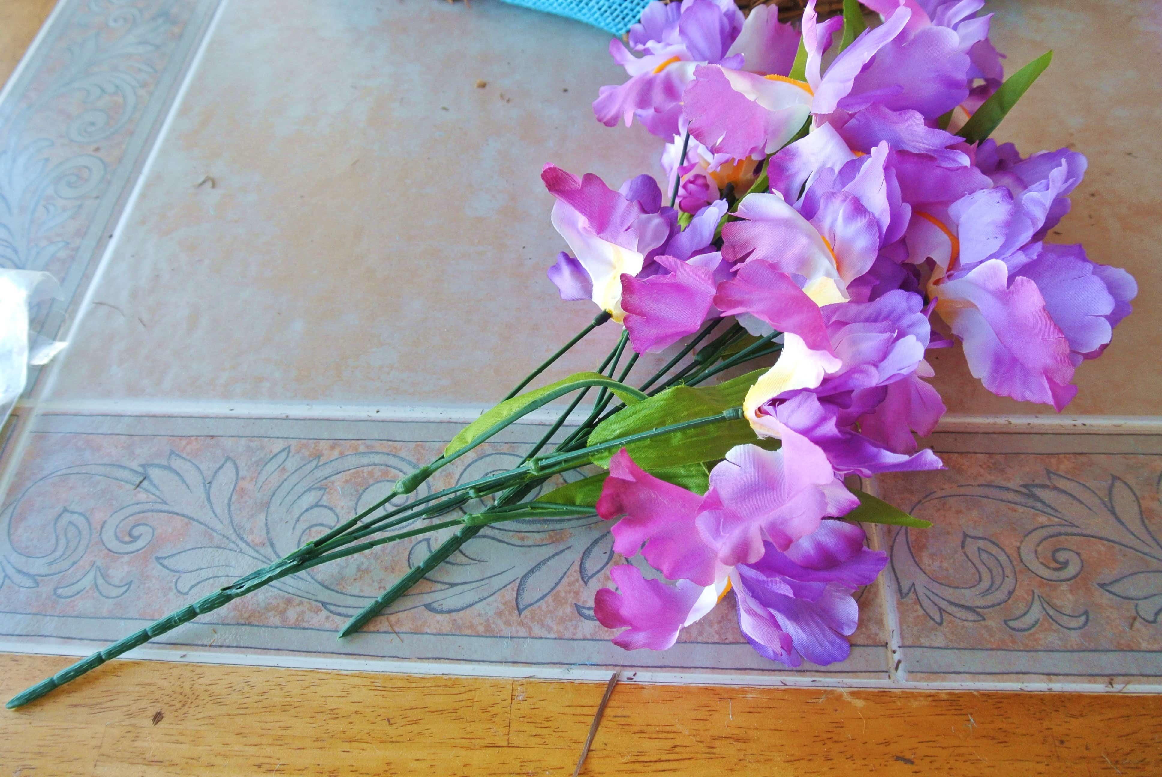 Faux purple flowers