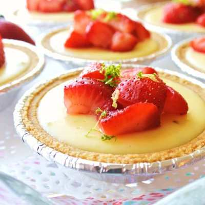 Mini Strawberry Key Lime Pies with Limoncello