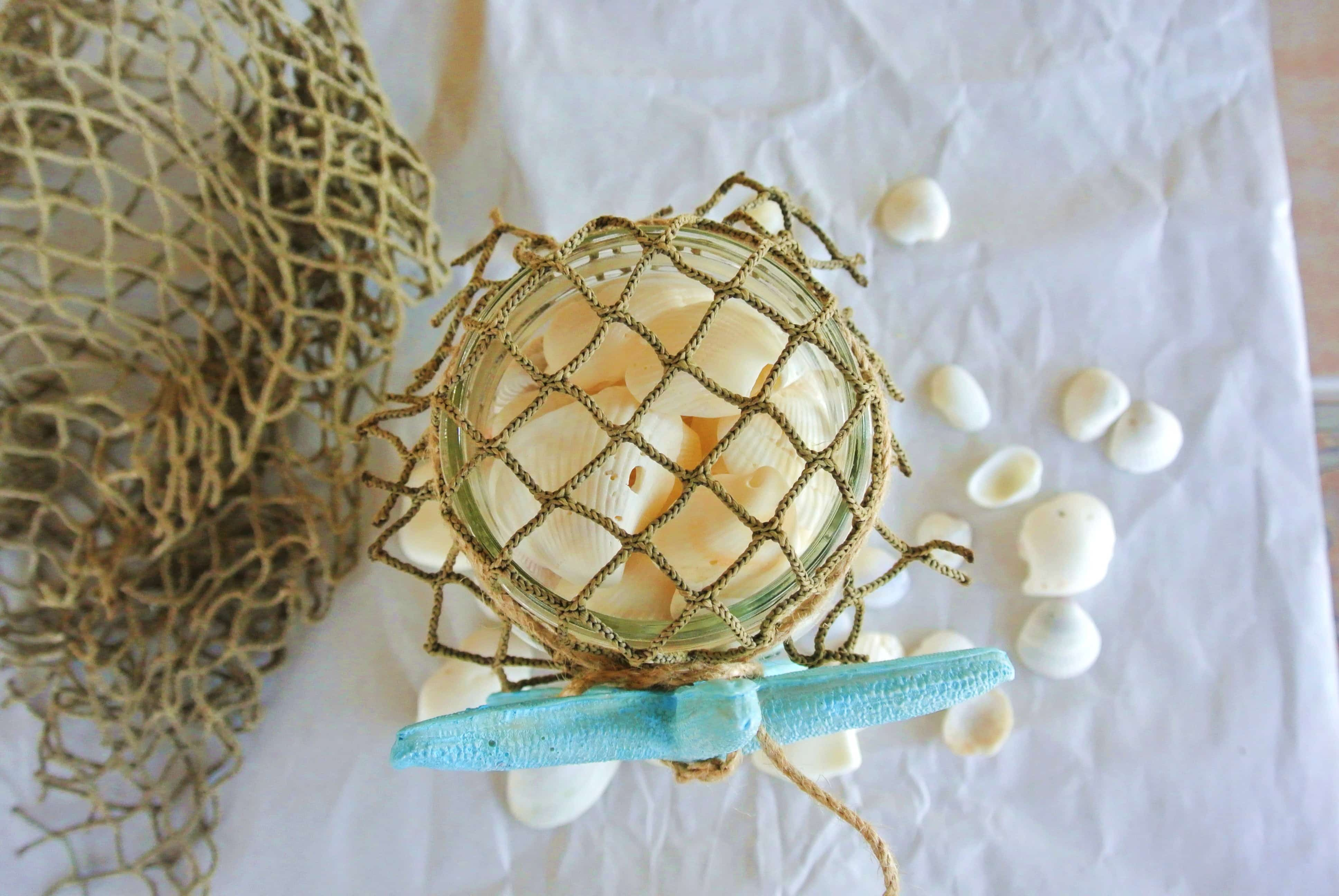 DIY Mason Jar Beach Craft- top view