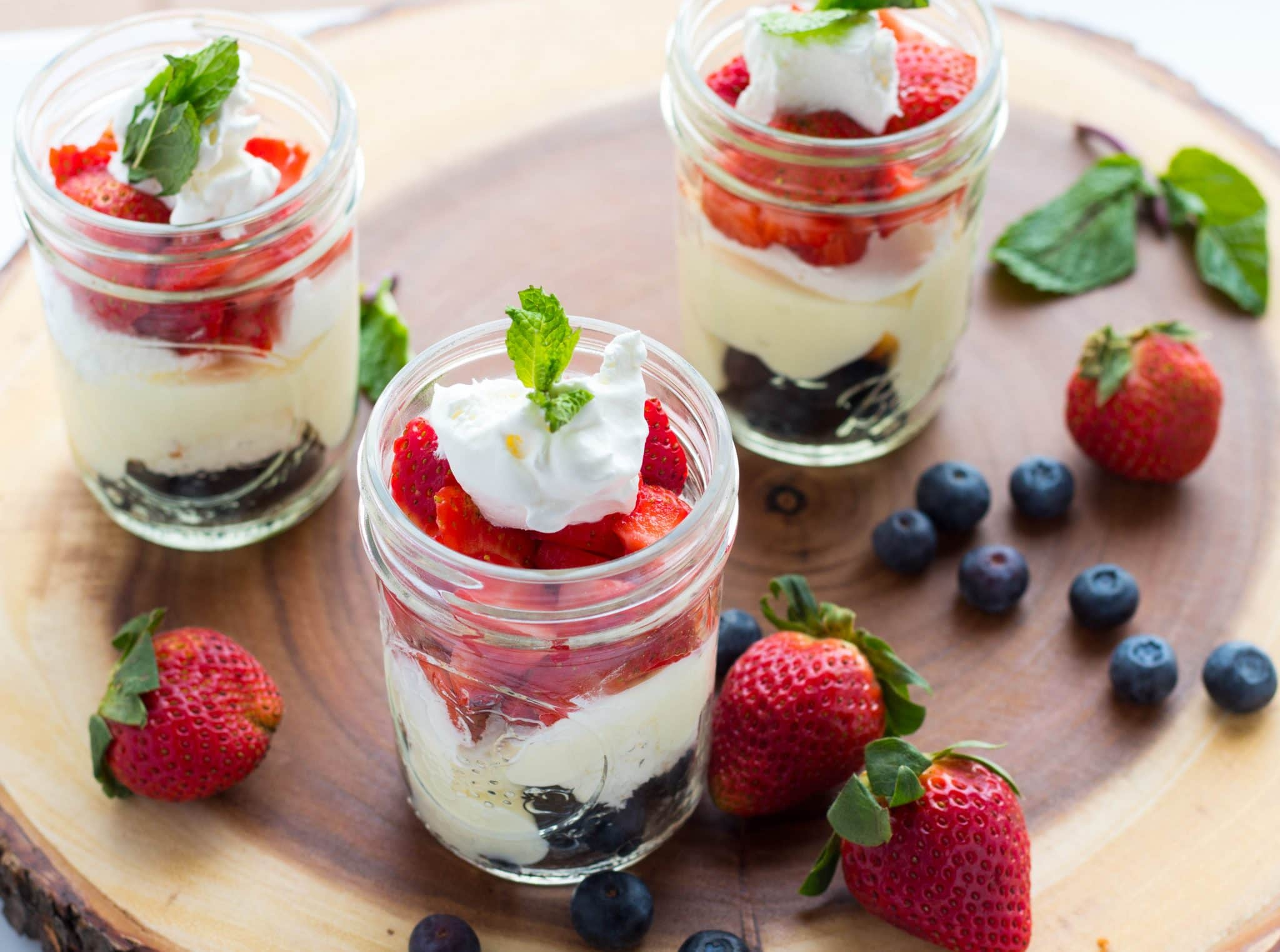 Red White and Blue MIni Berry Trifles