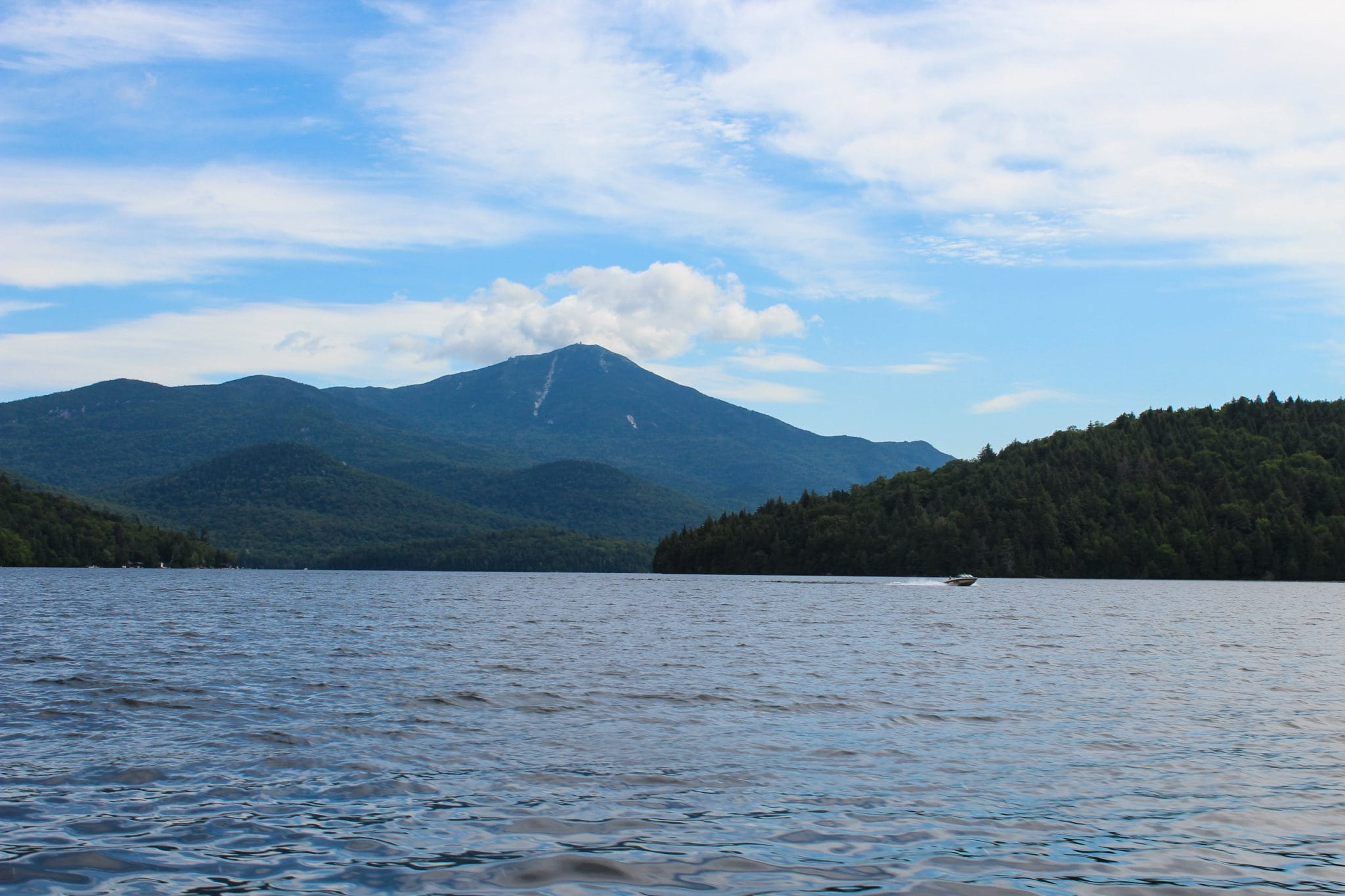 View of Whiteface Mountain from Lake Placid boat tour