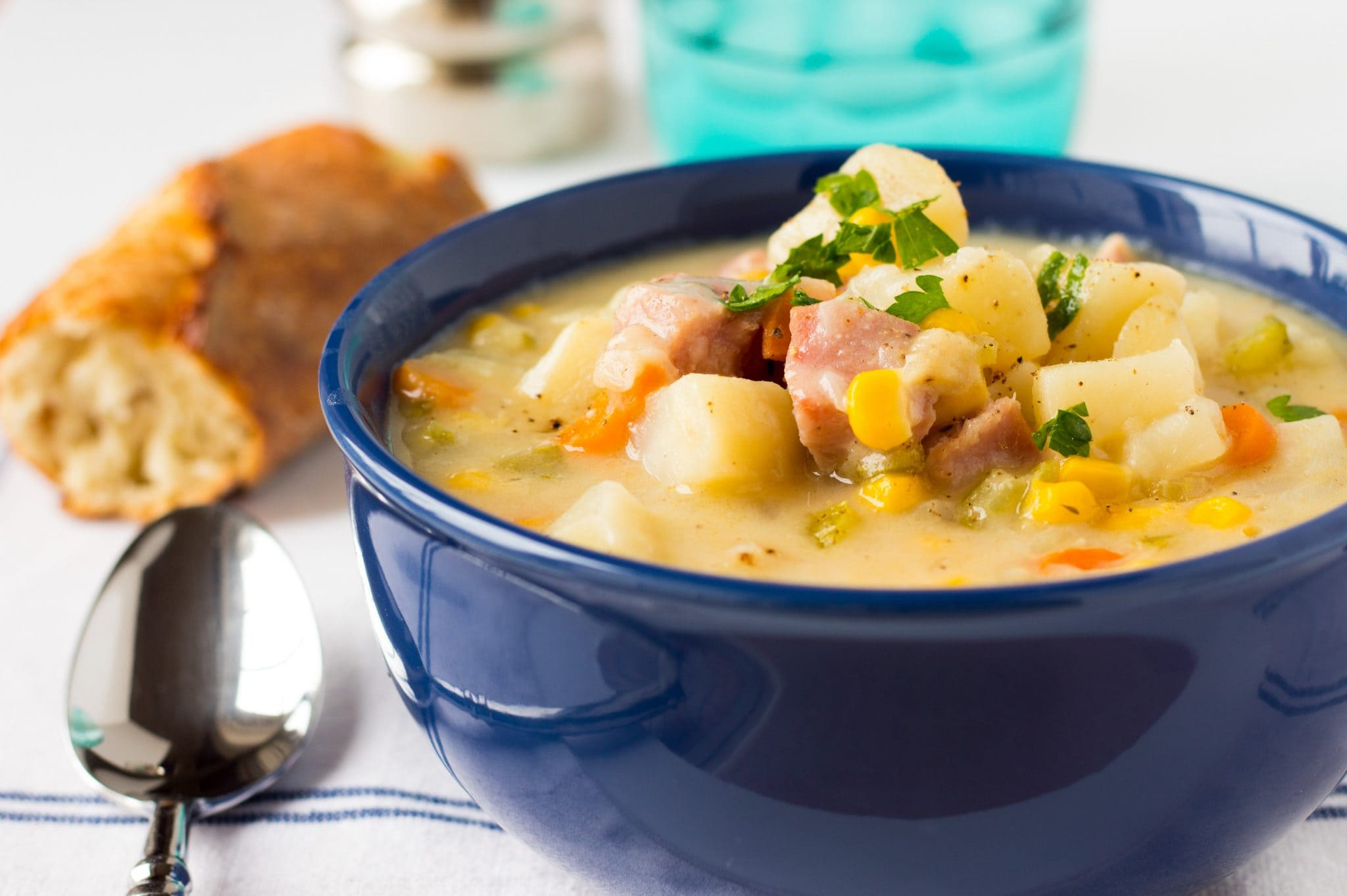 This One Pot Ham, Potato and Corn Chowder is a tasty, hearty soup full of vegetables to make with leftover ham. This soup is the ultimate comfort food!