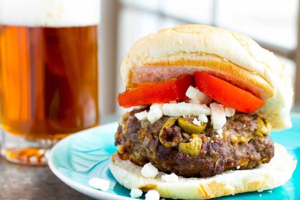 Air Fryer Greek Feta & Olive Hamburgers