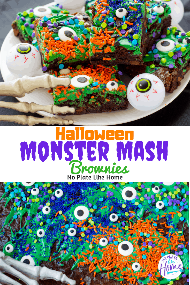 Decorate monster mash brownies with your kids for some Halloween fun! These Easy Halloween Monster Mash Brownies are easy-to-make and really simple to decorate!