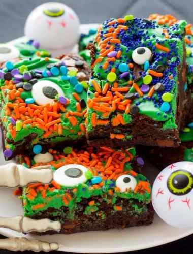 Easy Halloween Monster Mash Fudge Brownies
