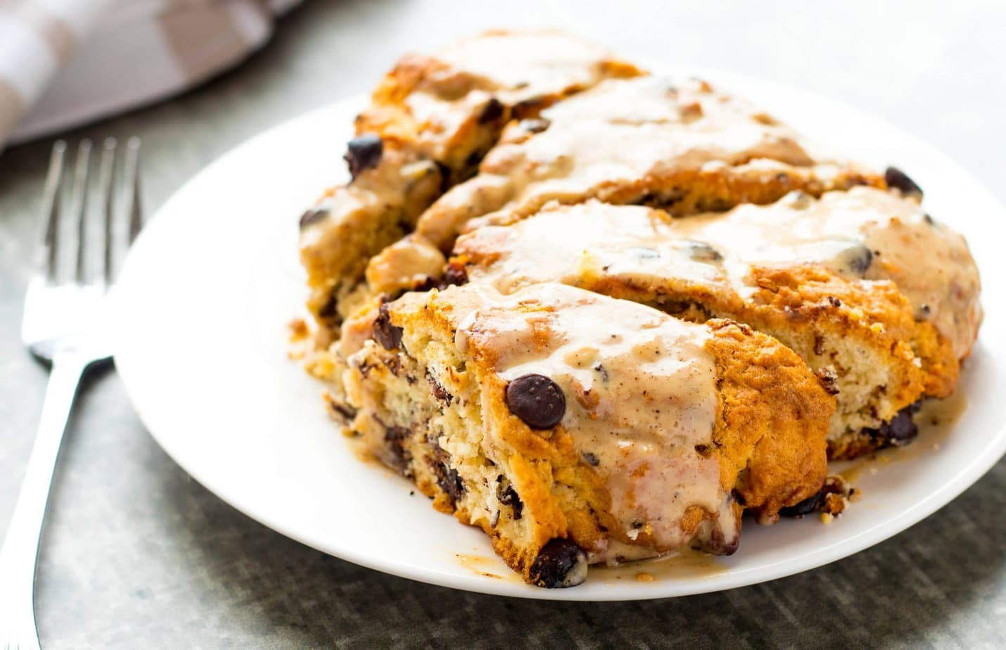 Mocha Glazed Chocolate Chip Hazelnut Scones