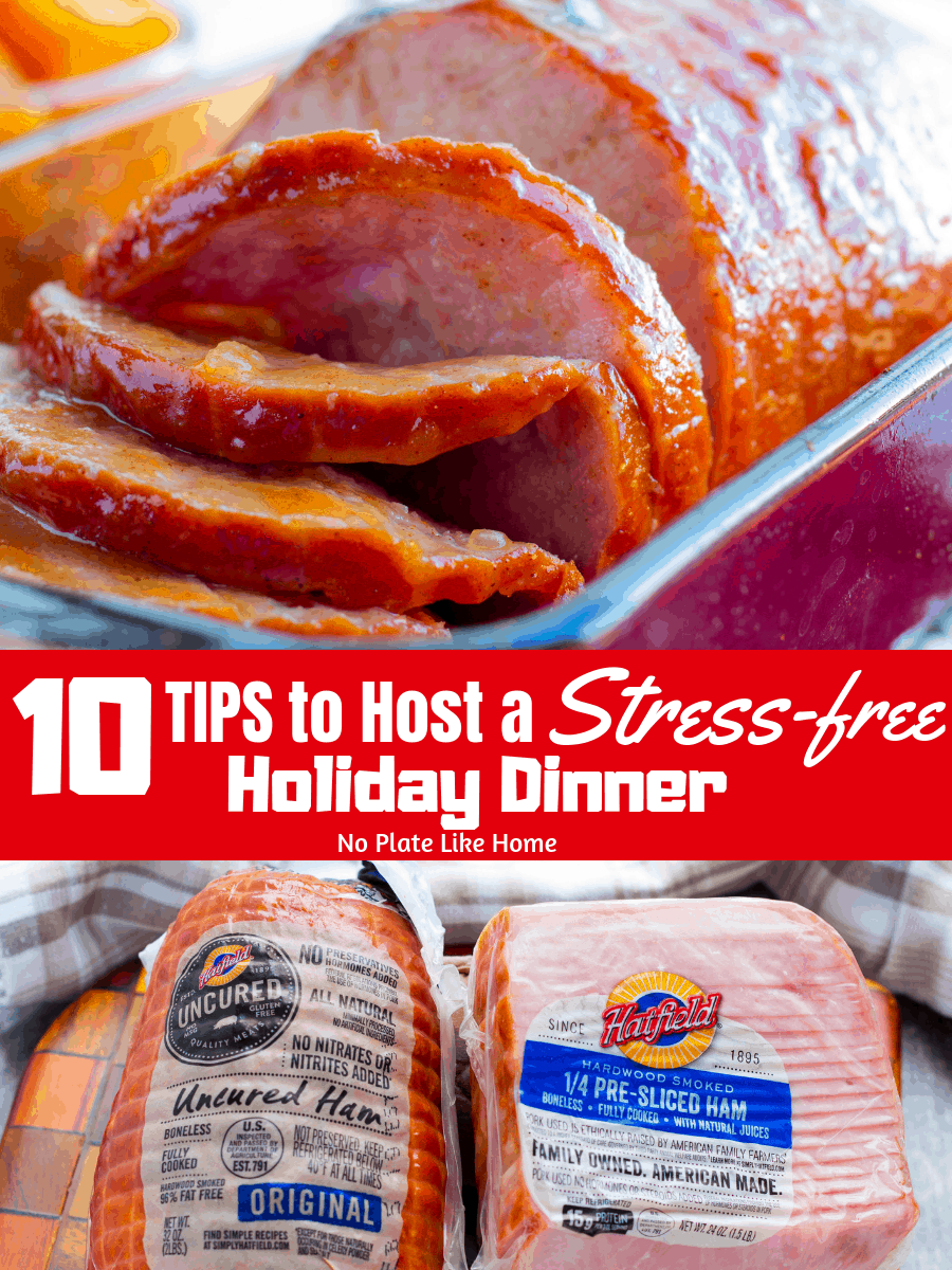 Don't sweat hosting a holiday dinner with 10 Tips to Host a Stress-free Holiday Dinner with Hatfield FREE PRINTABLE & easy Honey Pineapple Ham Glaze recipe!