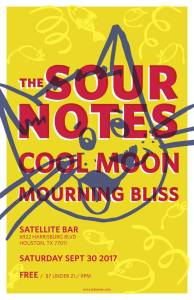09/30/2017: Cool Moon, The Sour Notes, & Mourning Bliss at Satellite Bar!