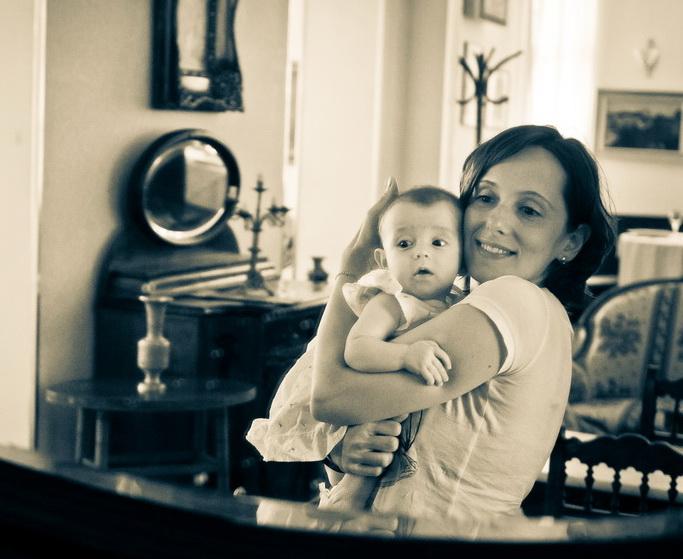 mother, child, mirror