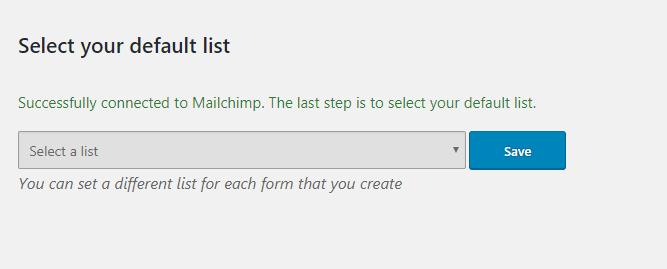 select default mailchimp list