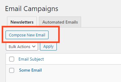 open the newsletter editor