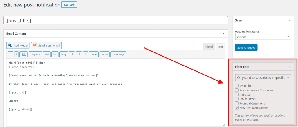 Filter new posts notifications lists