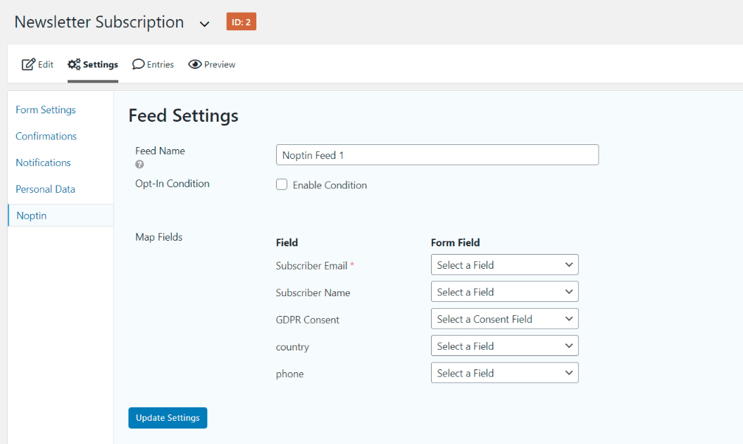gravity forms feed edit page