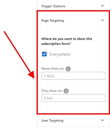 page targeting panel