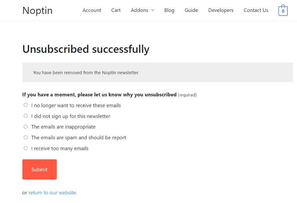 newsletter unsubscription survey
