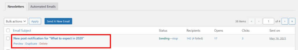 new post notification email overview