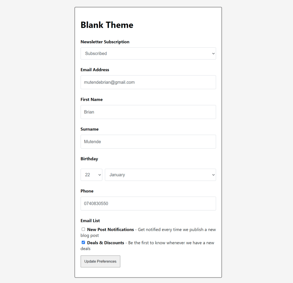 manage preferences page automatic
