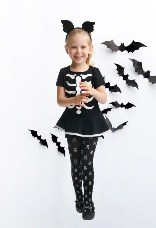 Rajstopy dziewczęce z brokatowym nadrukiem Halloween Czaszki
