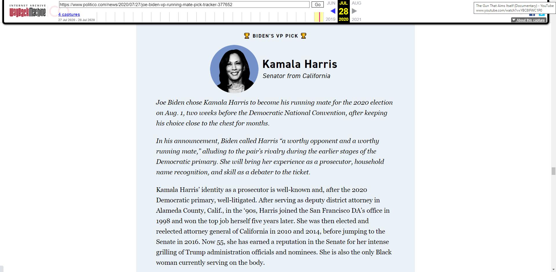 POLITICO Kamala Harris BIDEN VP PICK