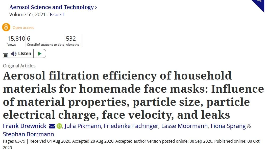 Title for Aerosol Filtration Efficiency paper