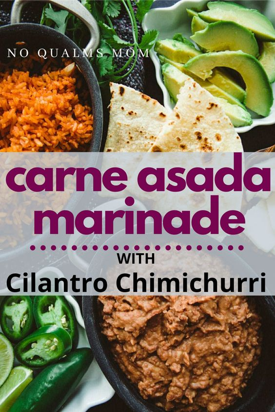 Carne Asada Marinade with Cilantro Chimichurri - here is an easy meat dish with the most delicious marinade and chimichurri combination! #carneasada #cilantro #chimichurri #mexican #easydinner