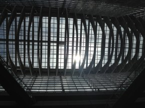 Sun shines through the roof of the Tokyo International Forum