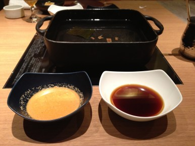 Hotpot with sesame sauce (left) and ponzu sauce (right)
