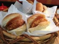 Deep fried, breaded shrimp patties served in hamburger buns