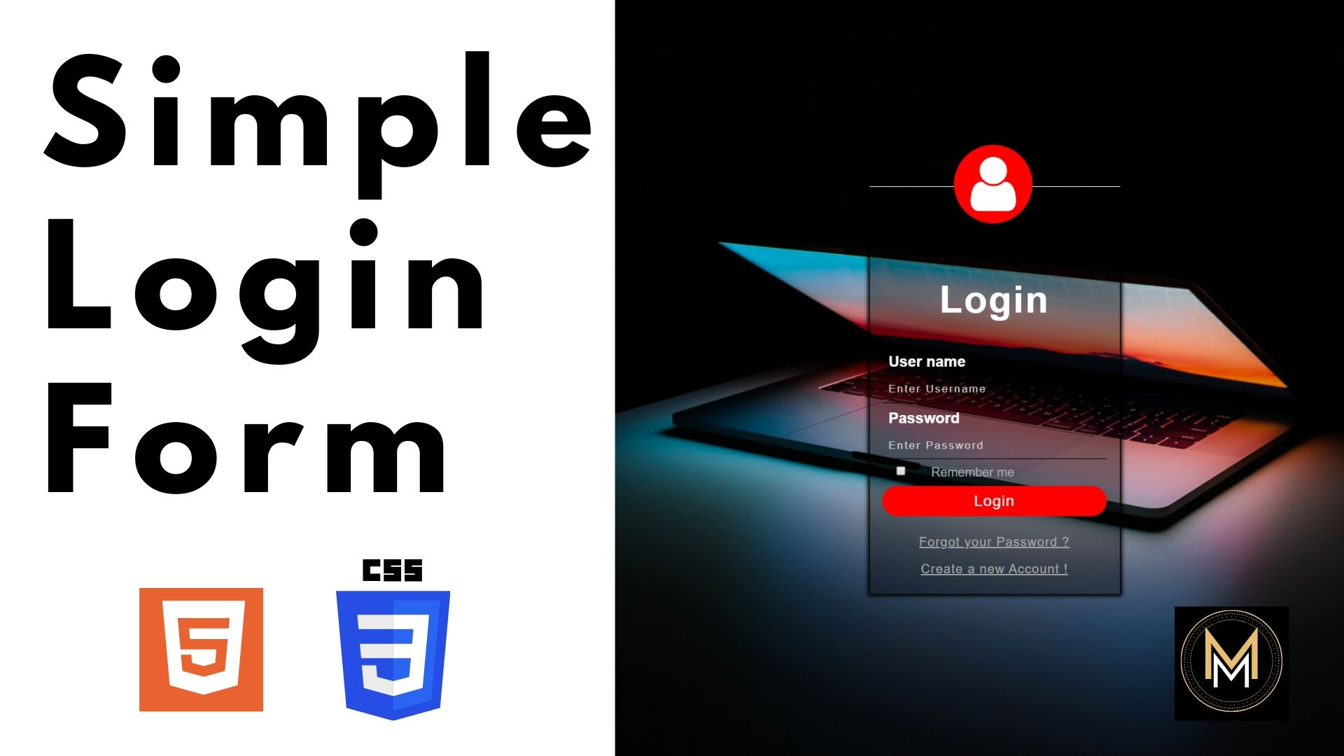 How To Create Login Form In HTML and CSS Make Sign In Form Design ThumbNail