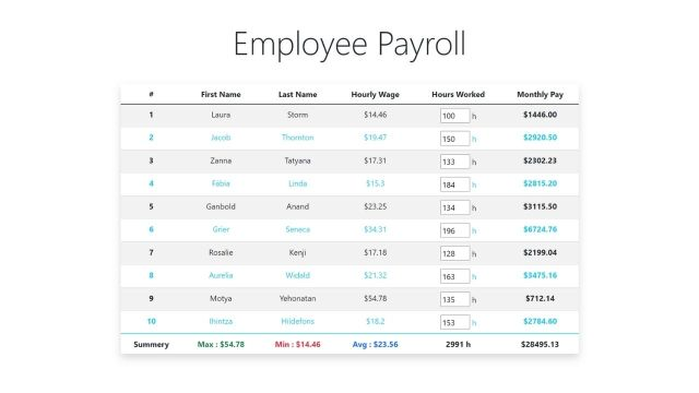 Build a Payroll Web App using JavaScript