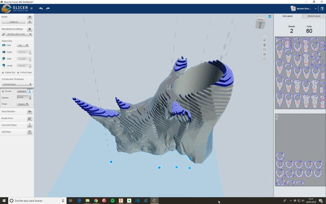 Paso 3 Rhino en Slicer for Fusion 360