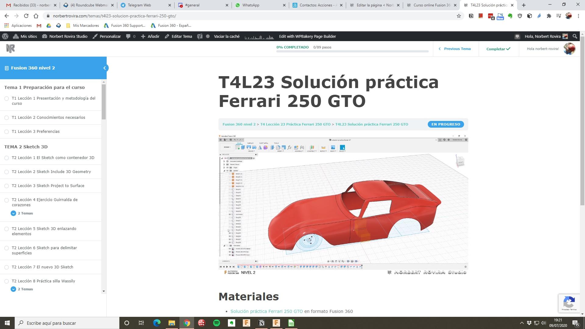 Lección Ferrari 250 GTO screenshot Fusion 360
