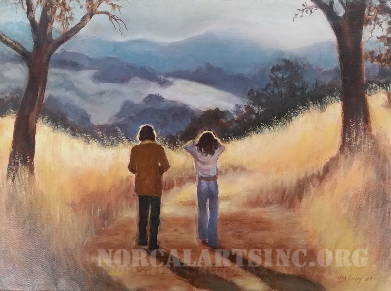 """A Walk in the Country"" by Jan Dailey, oil"