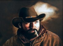"""Cowboy Portrait"" by Karen Cahill, oil on panel"