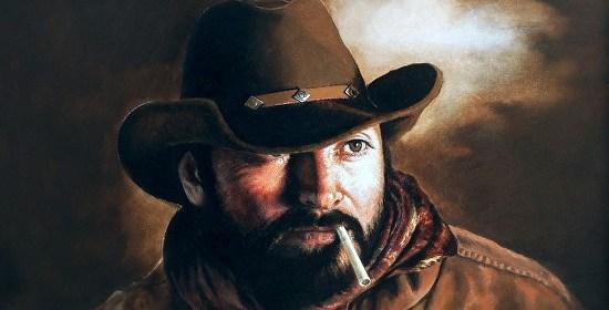 """Cowboy Portrait"" by Karen Cahill, oil on panel"