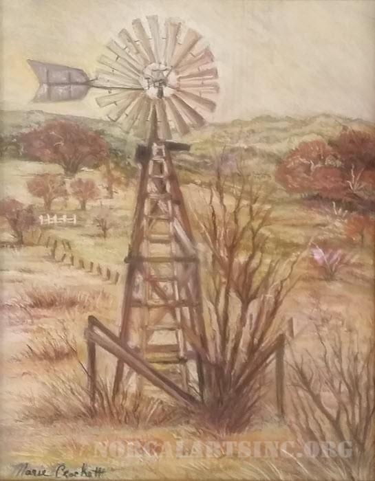 Windmills in Texas pastel