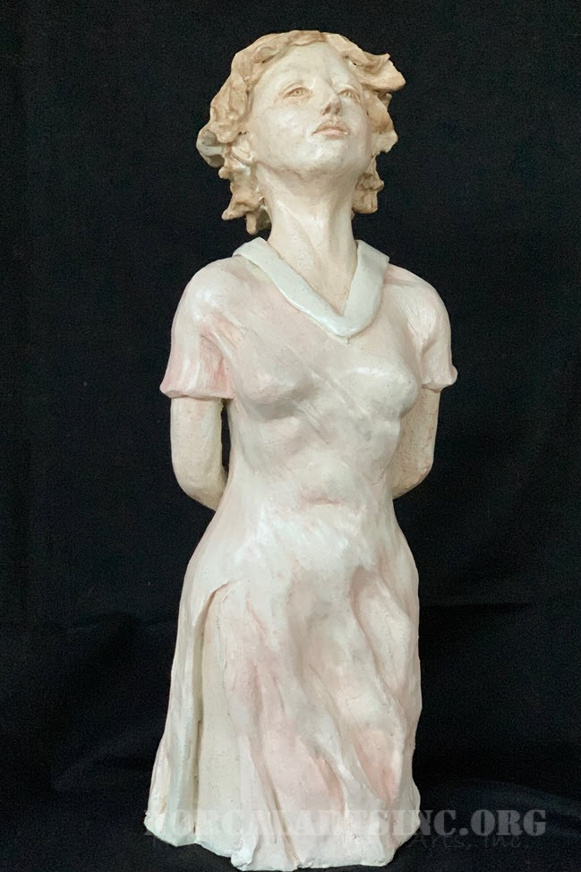 """Lily"" ceramic portrait sculpture of a young woman in a dress, glazed in white"