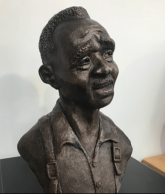 """Percy"" portrait sculpture by Jim Lee. Water base clay, paint, and metal wax"