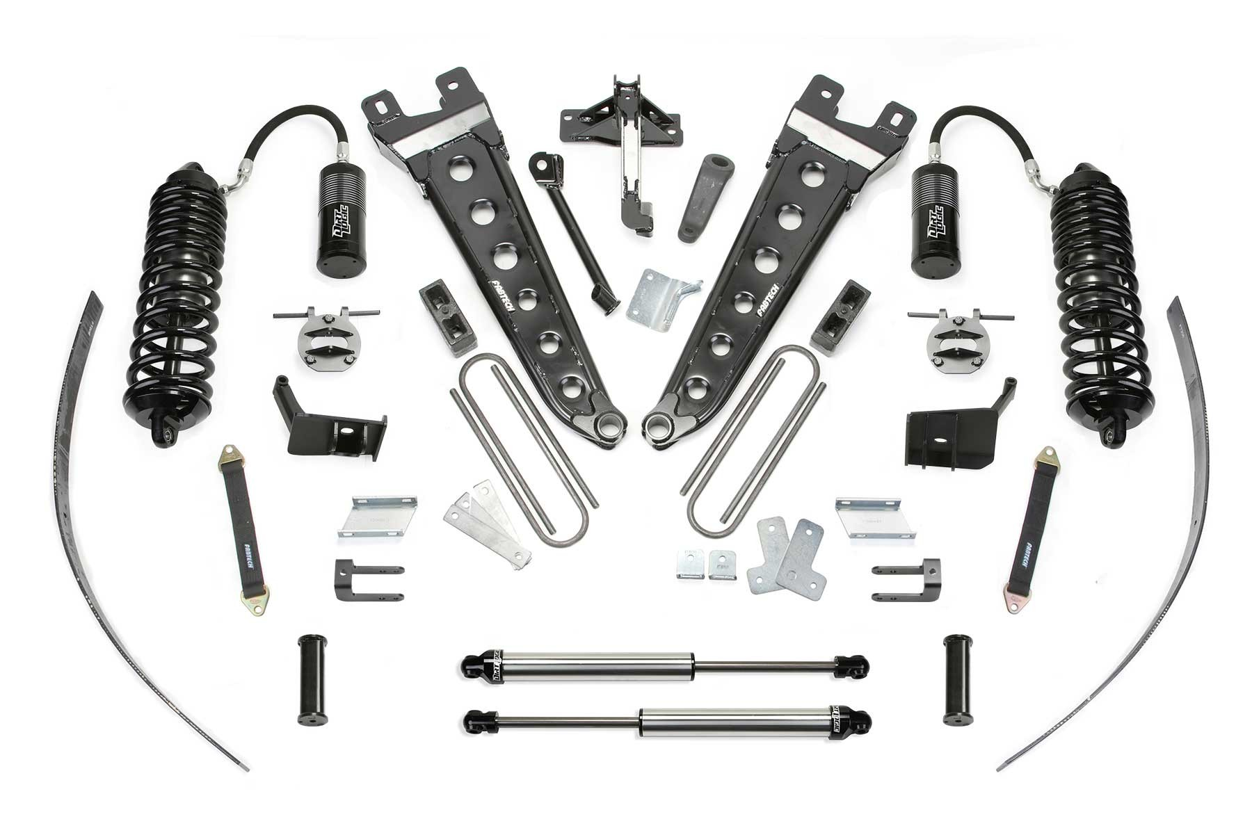 Fabtech 16 Ford F250 4wd 8 Radius Arm System W Front Dirt Logic 4 0 Resi Coilovers