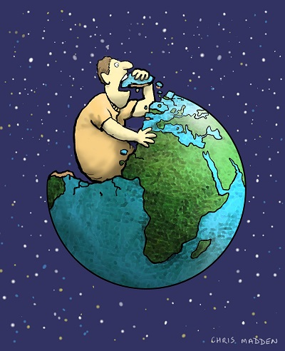 Man eating Earth small