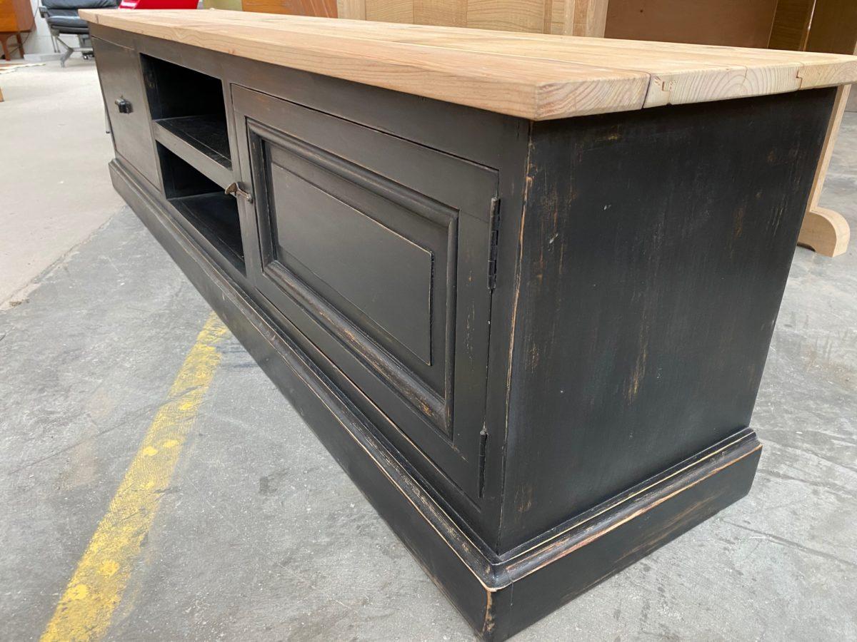 meuble tv patine noir nord factory