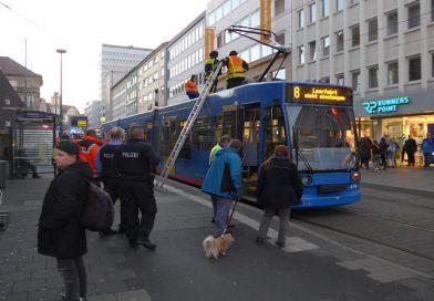 Brand einer Straßenbahn in Kassel