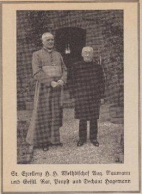 Ein weiteres Erinnerungskärtchen zum Priesterjubiläum mit Weihbischof Baumann und Propst Hagemann in Niedermarsberg, 1936.