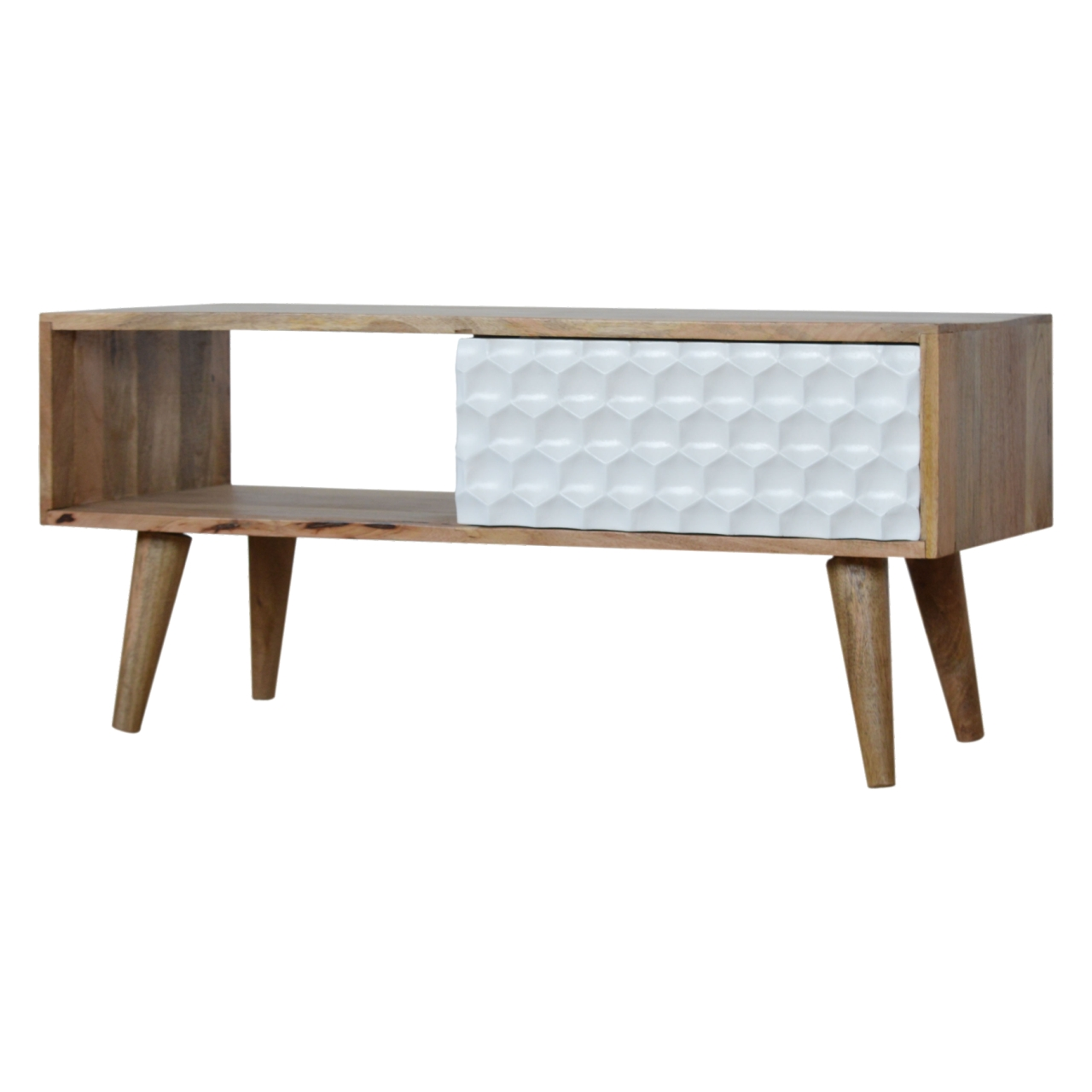 - Honeycomb Carved Coffee Table - Nordic Artisan